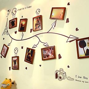 松木实木照片墙相片墙相框墙组合 客厅楼梯画框墙框相片旅行记忆