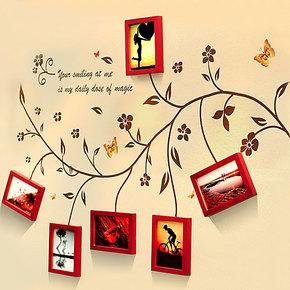 柠檬树 实木照片墙欧式 相框墙相片墙创意墙贴组合 韩式简约