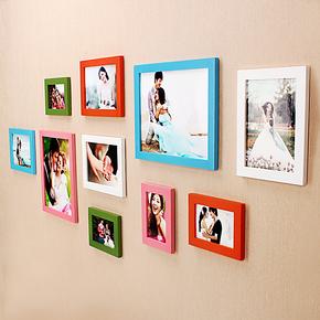 新款实木照片墙 相框墙组合 创意百搭彩色相片墙饰 装饰结婚礼物