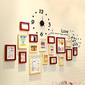 照片墙 实木相片墙 17框带挂钟时尚相框墙 相框组合创意 带墙贴