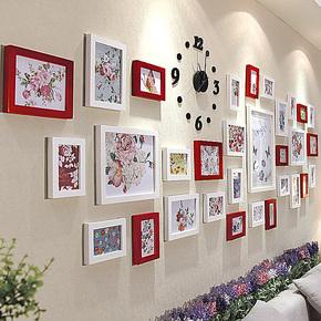 添色彩绘 实木照片墙 客厅橱窗大墙面相片墙 相框墙创意组合31A