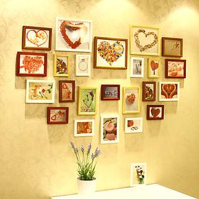 维佳 23框欧式心形照片墙 实木相框墙相框组合相片墙包邮送三模版