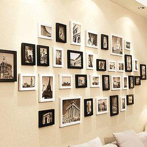 添色彩绘 照片墙大墙面 实木相片墙 相框墙 客厅超大墙面36框组合