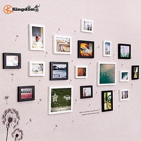 金鼎 18框加厚实木照片墙 超大客厅相片墙 创意组合相框墙 送墙贴