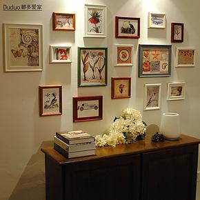 都多爱家 实木照片墙 创意相框墙组合 相片墙 欧式组合相框墙16C-