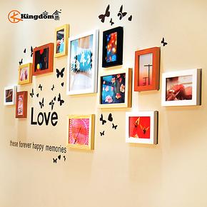 金鼎 12框精致实木照片墙  时尚创意相片墙相框墙 组合相框送墙贴