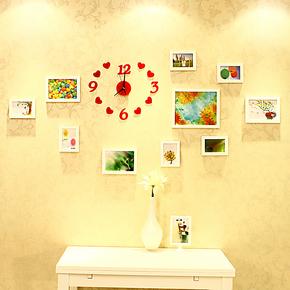 照片墙 实木相片墙 10框赠钟表时尚相框墙 相框组合创意结婚礼物