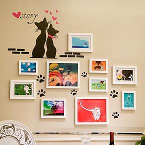 实木照片墙 10框猫咪墙贴 相框墙 创意家居组合相片墙 照片墙