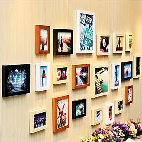 柠檬树 21框超大创意实木照片墙欧式经典家居装饰相框墙画框组合