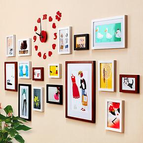 实木相框墙 照片墙 创意相框组合 钟爱一生宜家相片墙 结婚礼物