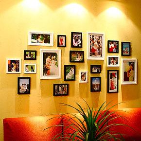 维佳品牌20大框实木照片墙适合放生活照的相片墙创意相框墙组合