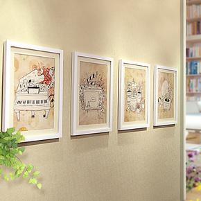 添色彩绘 照片墙实木 相片墙组合婚纱照艺术照相框大相框墙组合