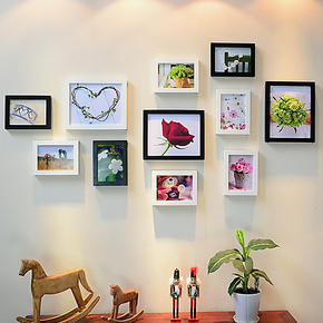 11框小清新实木照片墙 客餐厅组合相框婚纱相片墙宜家装饰画包邮