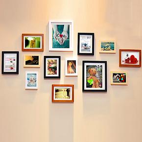 13框实木照片墙时尚创意相片墙相框组合墙 免费洗照片特价包邮