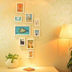 9框竖版相框组合 玄关走廊餐厅小墙面相片墙韩式照片墙送画芯包邮