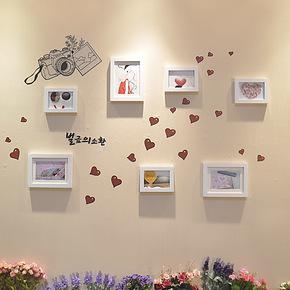 恋居 照片墙 实木相片墙 创意组合 相框墙 墙贴+照片墙相框 7框q