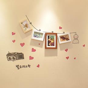 恋居 照片墙 实木相片墙 创意组合 相框墙 墙贴+照片墙相框 4框q