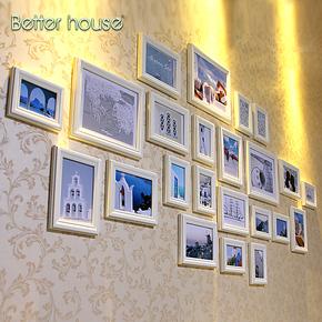 百特好照片墙欧式 客厅相框墙 地中海风情 23框经典重现 实木相框