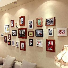 添色彩绘 照片墙实木 欧式相片墙客厅组合相框墙大墙面适合结婚照