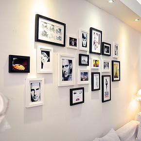 添色彩绘 照片墙 实木相片墙 18框相框组合相框墙适合大墙面客厅