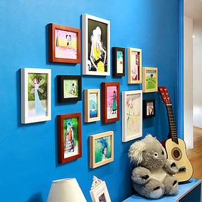照片墙 实木相片墙 13框 时尚相框墙 相框组合创意组合 欧式家居