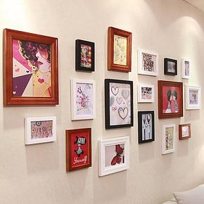 添色彩绘 照片墙 实木欧式相片墙 大尺寸相框墙相框组合 创意家装