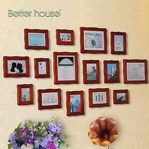 百特好 照片墙相框墙 组合创意实木欧式相框 客厅背景墙SH-1505