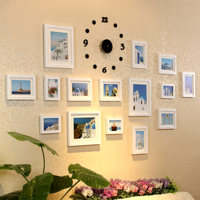 包邮 实木相框墙 相片墙 创意组合 15框钟表组合照片墙送蓝丁胶
