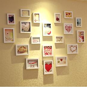 19框心型实木照片墙 相框墙相片墙组合 结婚礼物 代冲照片 包邮