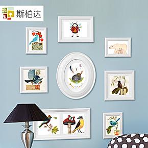 斯柏达  实木儿童照片墙 宝宝相片墙 相框墙创意组合相框 Cupid