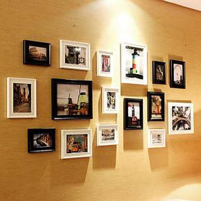 百易尚品 欧式奢华大尺寸照片墙 相片墙组合实木相框墙 像框 包邮