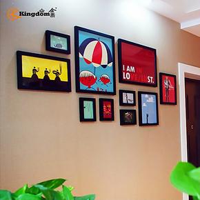 金鼎照片墙 创意 照片框实木相框10框超大客厅墙 墙框 宜家热销