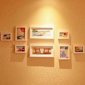 小猪猪 8框实木照片墙创意组合相框墙 相片墙免费冲照片 全国包邮