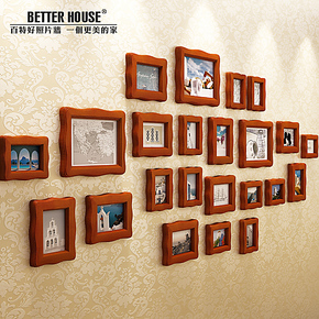 百特好/实木照片墙相框墙欧式沙发背景墙文化墙奢华纯手工SH-2303