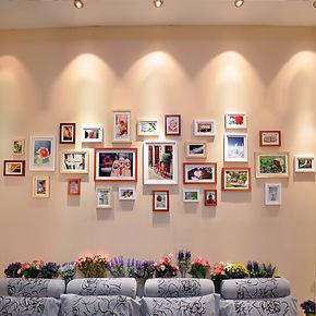 恋居 实木照片墙 大墙面相框墙 时尚大客厅 28框创意组合相片墙