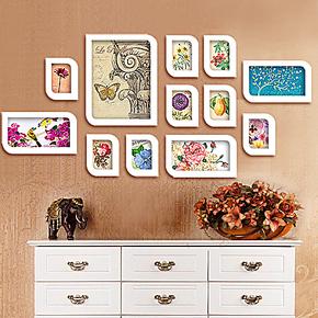客厅照片墙实木相片墙欧式时尚相框墙相框墙贴组合创意家饰组合