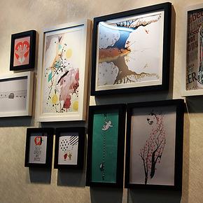 加厚实木9框卡通插画照片墙大尺寸16寸相片墙像框墙相框创意组合