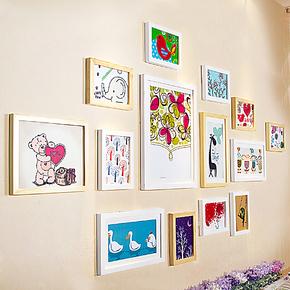 柠檬树 简约松木实木照片墙创意组合 客厅装饰相框墙 欧式相片墙