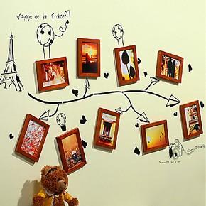 【预售】9框松木实木照片墙相片墙相框墙组合 客厅画框墙框