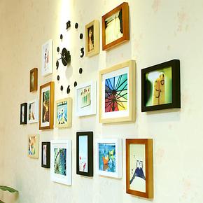 小猪猪实木照片墙 相框创意组合17框宜家相片墙 结婚礼物送胶