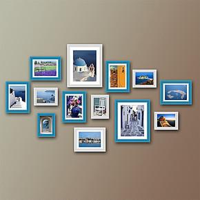 乐贴工厂直营照片墙实木相片墙组合画框13J-*地中海*13个框
