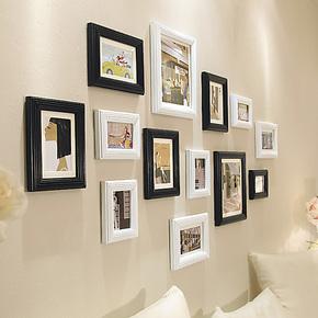 欧木格 实木欧式照片墙 客厅创意相片墙 时尚相框墙相框组合16113