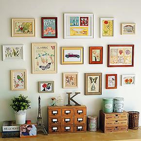沃思卡乐 照片墙 复古实木相框组合/欧式田园美式相片墙相框墙