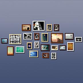 浮图 实木照片墙相框墙 相片墙 照片 墙 相框组合照片墙 创意