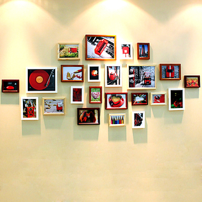 百易尚品 实木23框照片墙 相框组合 创意照片墙 相片墙 相框墙