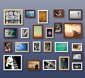 祺艺23框实木照片墙时尚加厚款组合相框墙相框照片墙像框照片墙