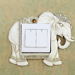 如果 欧式大象树脂开关贴插座套墙贴 奢华创意家居装饰 镶钻
