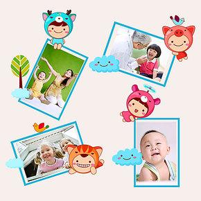 飞彩 开关贴 包邮 特价 快乐宝宝相片贴卧室电脑马桶贴照片墙墙贴