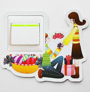 开关贴纸 韩国创意 夜光彩色灯开关套 卡通墙贴纸 求婚
