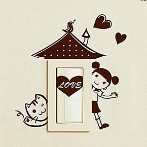 乐贴墙贴◆小女生爱的家◆开关贴/随意贴 时尚卡通个性装饰墙贴纸